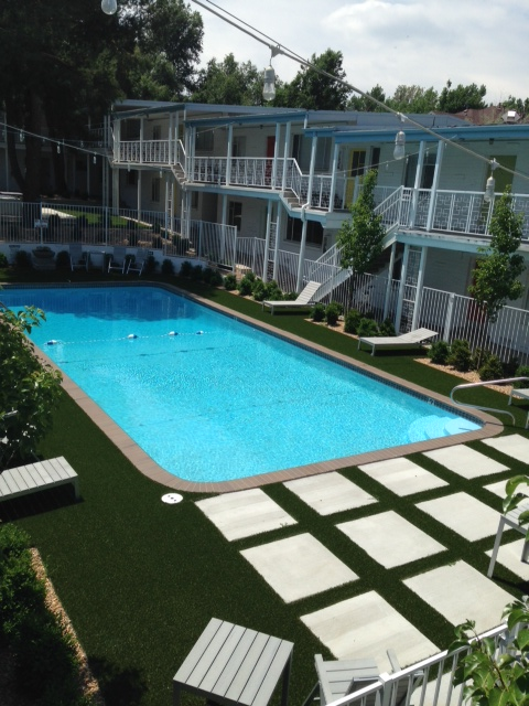 Turf around pool