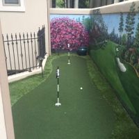Putting Green with Mural on Wall Artificial Turf Iron Fence